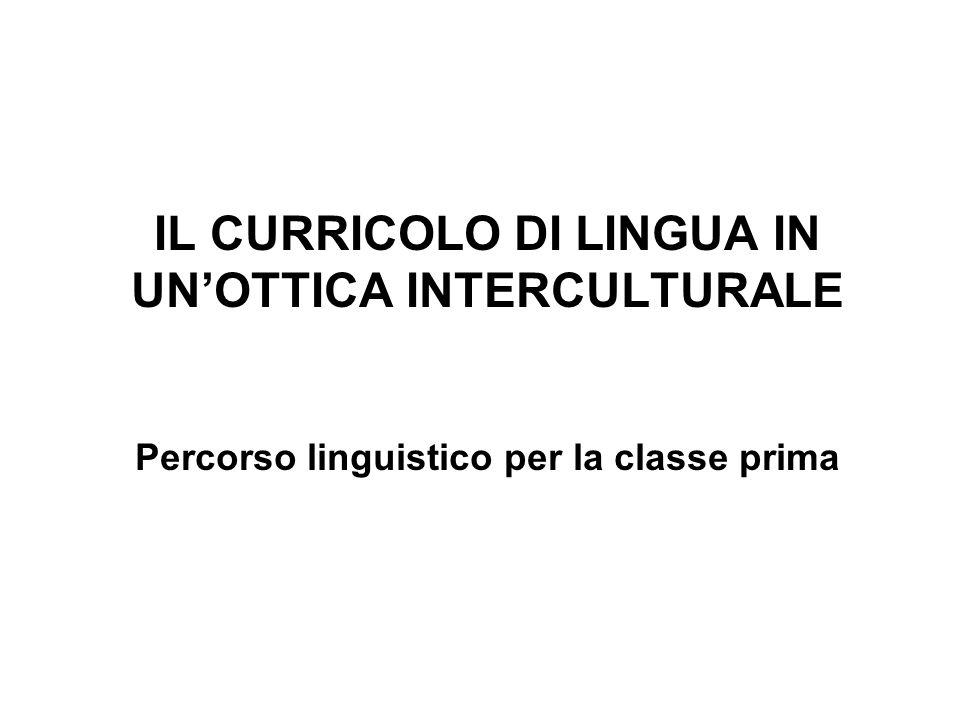 IL CURRICOLO DI LINGUA IN UNOTTICA INTERCULTURALE Percorso linguistico per la classe prima