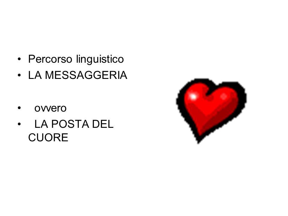 Percorso linguistico LA MESSAGGERIA ovvero LA POSTA DEL CUORE