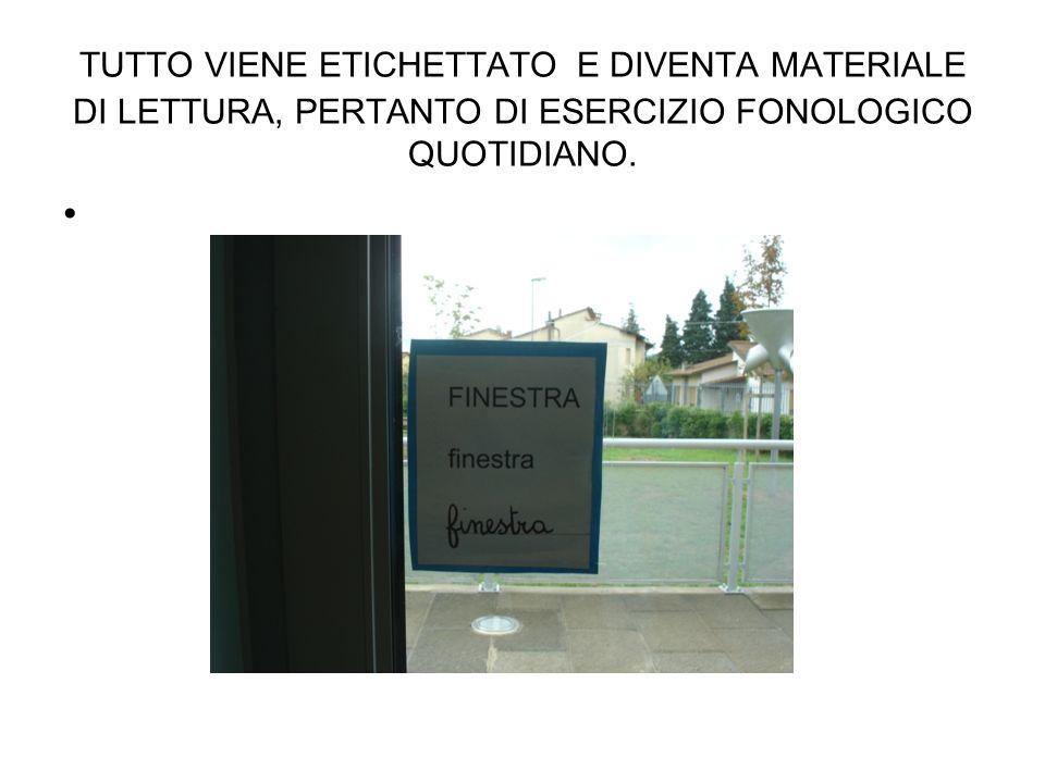 TUTTO VIENE ETICHETTATO E DIVENTA MATERIALE DI LETTURA, PERTANTO DI ESERCIZIO FONOLOGICO QUOTIDIANO.