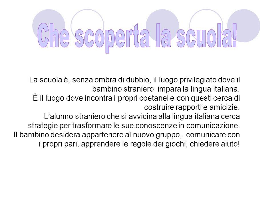 La scuola è, senza ombra di dubbio, il luogo privilegiato dove il bambino straniero impara la lingua italiana.