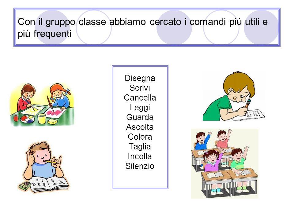 Con il gruppo classe abbiamo cercato i comandi più utili e più frequenti Disegna Scrivi Cancella Leggi Guarda Ascolta Colora Taglia Incolla Silenzio