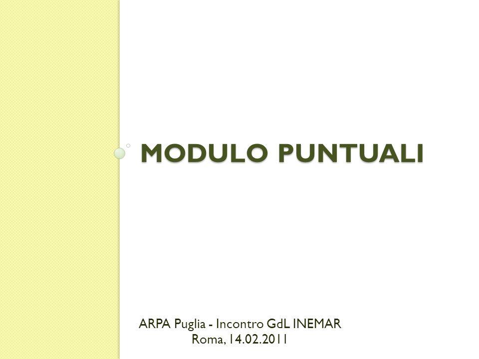 MODULO PUNTUALI ARPA Puglia - Incontro GdL INEMAR Roma, 14.02.2011