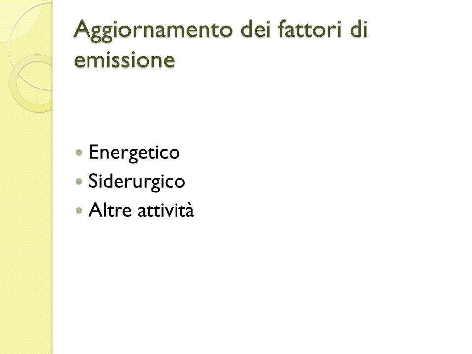 Aggiornamento dei fattori di emissione Energetico Siderurgico Altre attività
