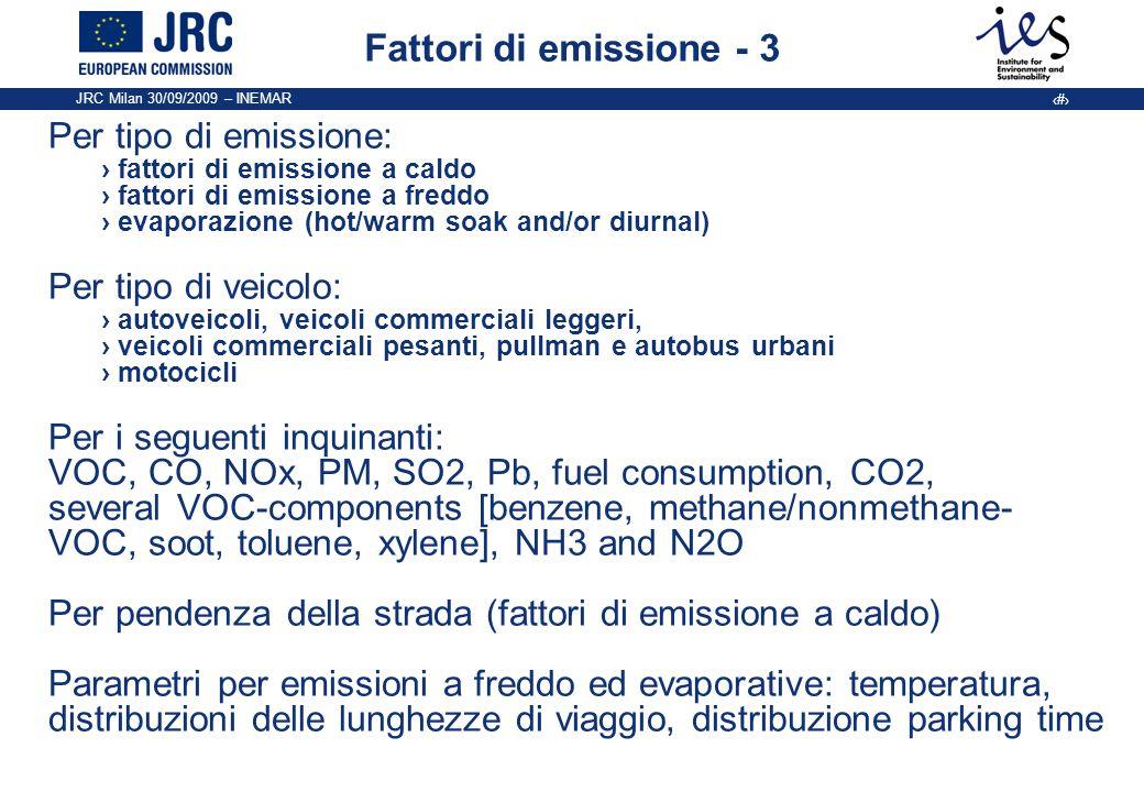 JRC Milan 30/09/2009 – INEMAR 10 Fattori di emissione - 3 Per tipo di emissione: fattori di emissione a caldo fattori di emissione a freddo evaporazio