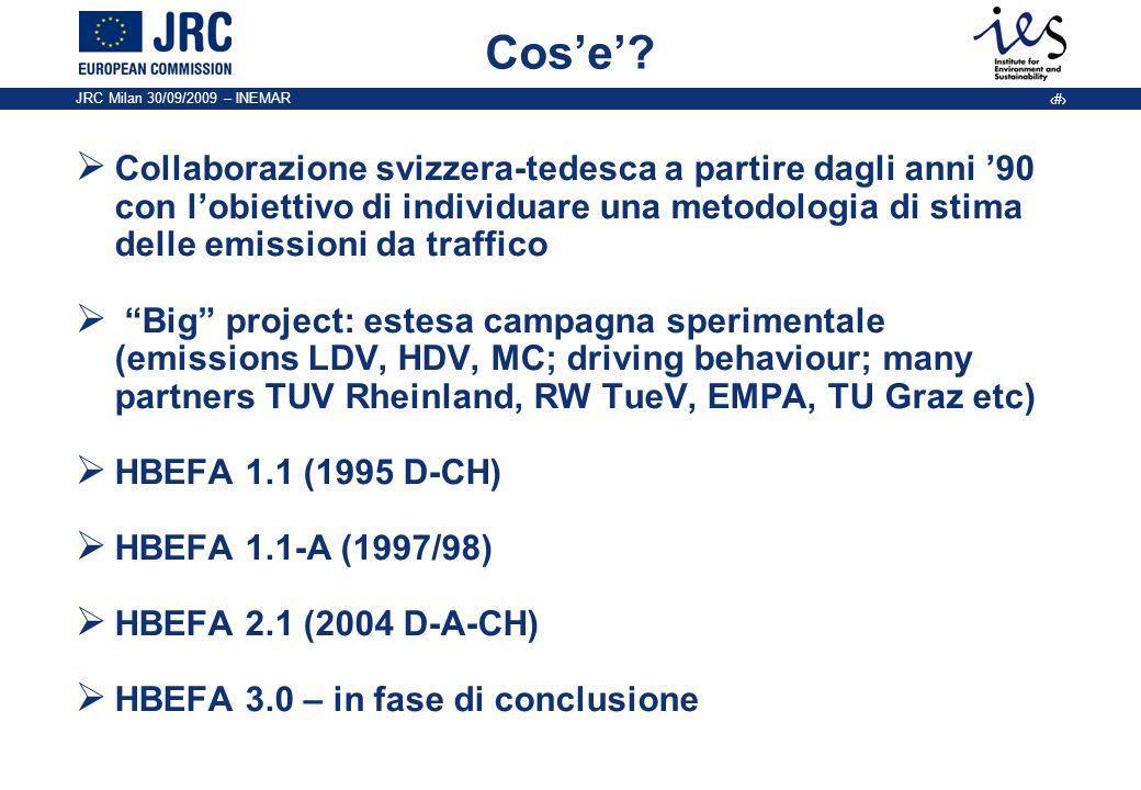 JRC Milan 30/09/2009 – INEMAR 2 Cose? Collaborazione svizzera-tedesca a partire dagli anni 90 con lobiettivo di individuare una metodologia di stima d