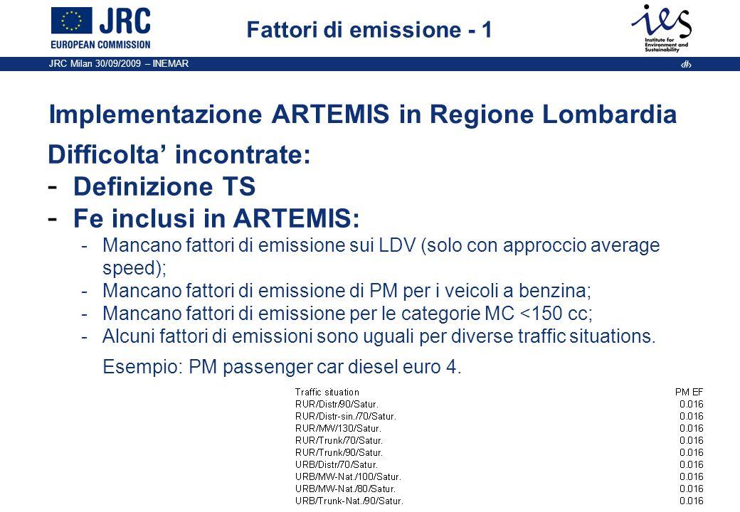JRC Milan 30/09/2009 – INEMAR 8 Fattori di emissione - 1 Implementazione ARTEMIS in Regione Lombardia Difficolta incontrate: - Definizione TS - Fe inc