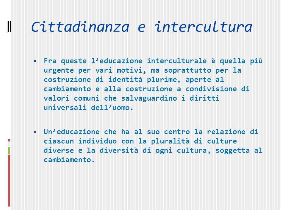 Cittadinanza e intercultura Una relazione che poggia sullidea che siamo diversi, ma siamo anche tutti umani.I due termini vanno costantemente articolati.