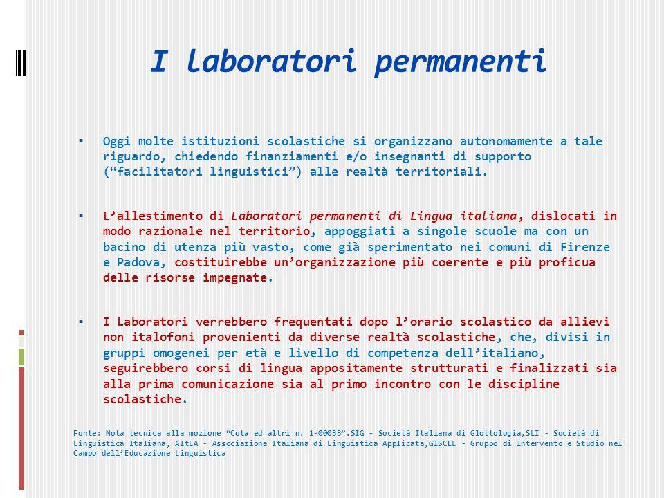 I laboratori permanenti Oggi molte istituzioni scolastiche si organizzano autonomamente a tale riguardo, chiedendo finanziamenti e/o insegnanti di supporto (facilitatori linguistici) alle realtà territoriali.