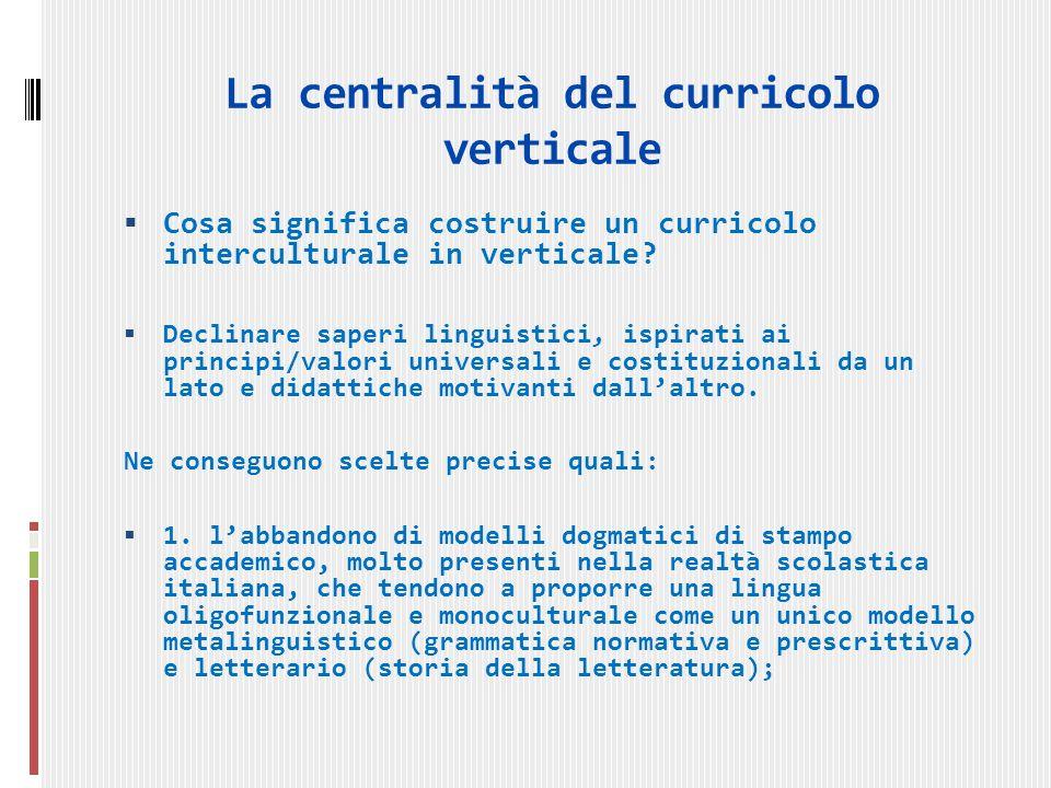 La centralità del curricolo verticale Cosa significa costruire un curricolo interculturale in verticale.