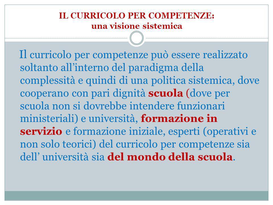 IL CURRICOLO PER COMPETENZE: una visione sistemica Il curricolo per competenze può essere realizzato soltanto allinterno del paradigma della complessi