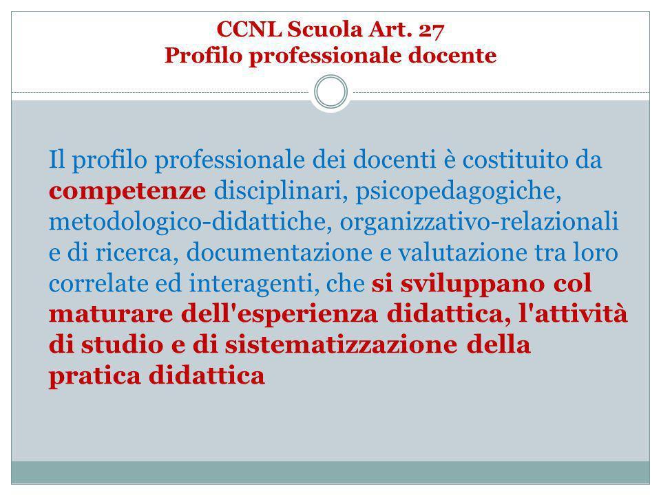 CCNL Scuola Art. 27 Profilo professionale docente Il profilo professionale dei docenti è costituito da competenze disciplinari, psicopedagogiche, meto