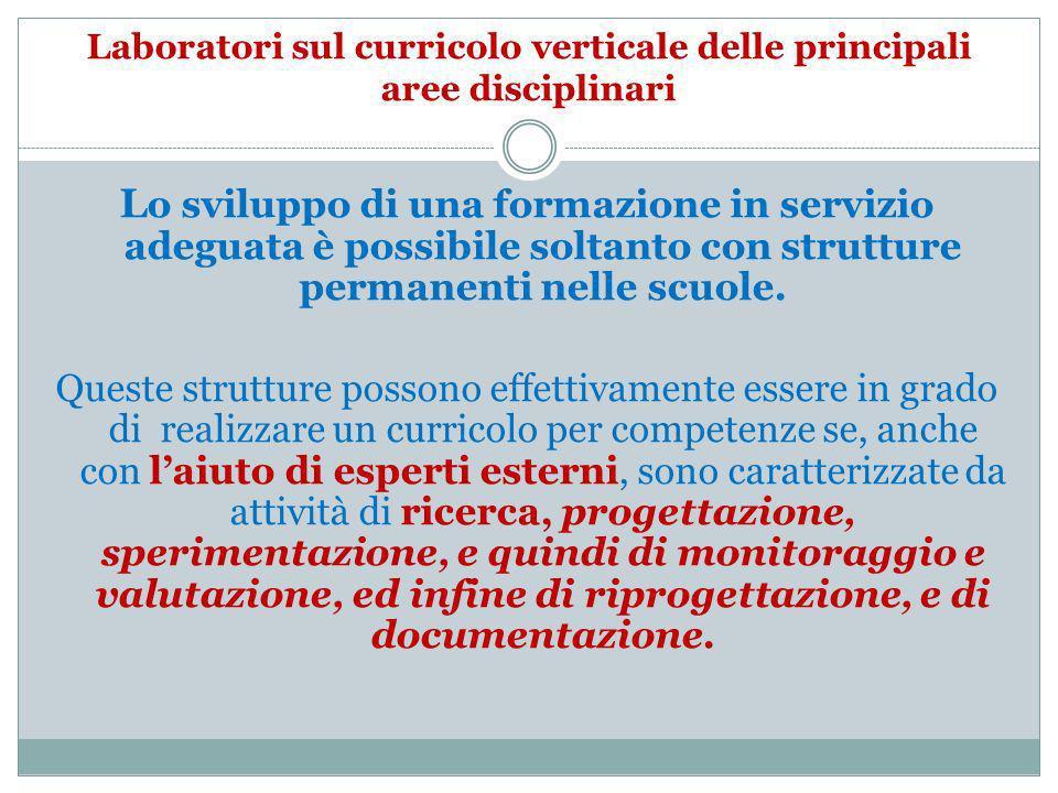 Laboratori sul curricolo verticale delle principali aree disciplinari L o sviluppo di una formazione in servizio adeguata è possibile soltanto con str