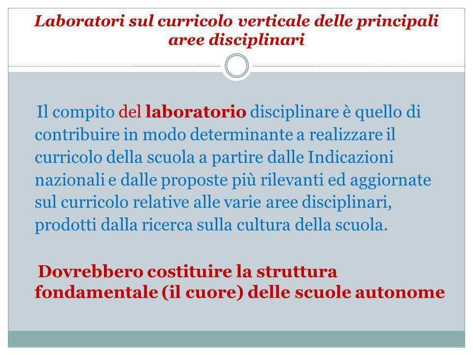 Laboratori sul curricolo verticale delle principali aree disciplinari Il compito del laboratorio disciplinare è quello di contribuire in modo determin