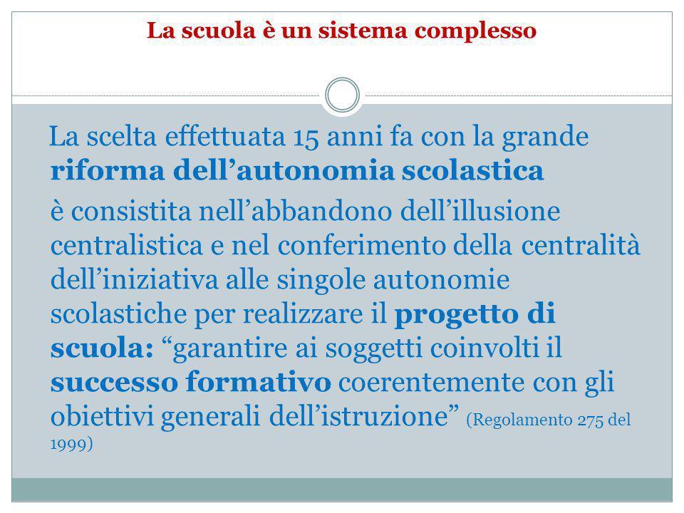 La scuola è un sistema complesso La scelta effettuata 15 anni fa con la grande riforma dellautonomia scolastica è consistita nellabbandono dellillusio