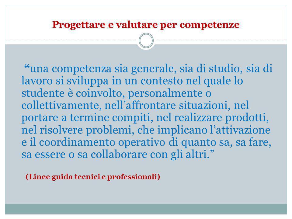 Progettare e valutare per competenze una competenza sia generale, sia di studio, sia di lavoro si sviluppa in un contesto nel quale lo studente è coin