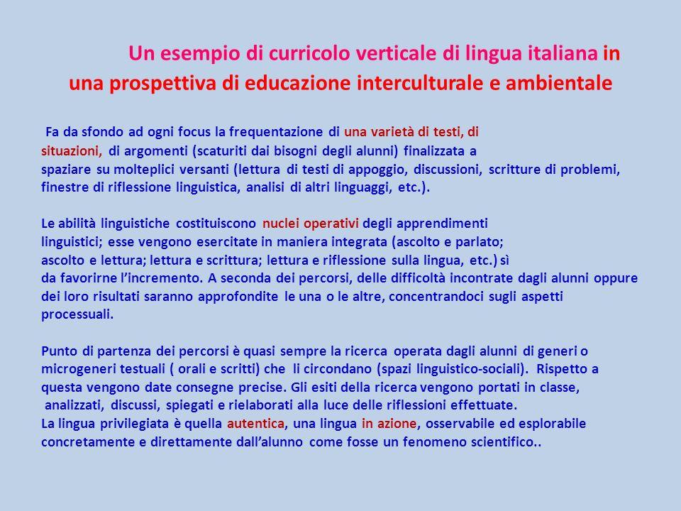 Un esempio di curricolo verticale di lingua italiana in una prospettiva di educazione interculturale e ambientale Fa da sfondo ad ogni focus la freque