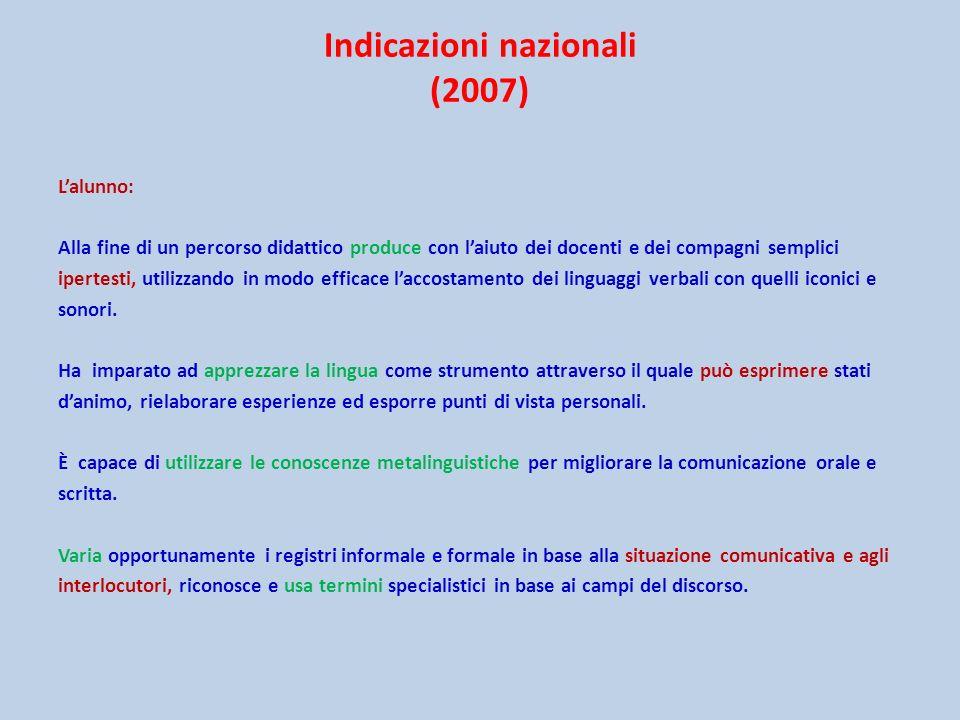Indicazioni nazionali (2007) Lalunno: Alla fine di un percorso didattico produce con laiuto dei docenti e dei compagni semplici ipertesti, utilizzando