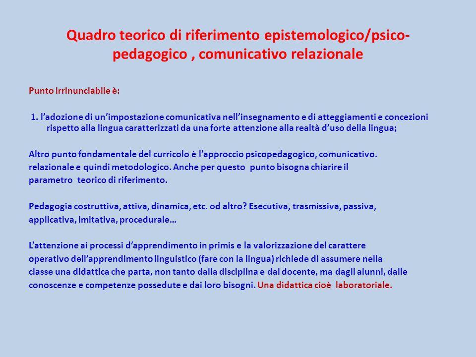 Quadro teorico di riferimento epistemologico/psico- pedagogico, comunicativo relazionale Punto irrinunciabile è: 1. ladozione di unimpostazione comuni