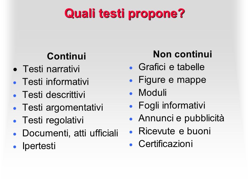 Quali testi propone? Continui Testi narrativi Testi informativi Testi descrittivi Testi argomentativi Testi regolativi Documenti, atti ufficiali Ipert