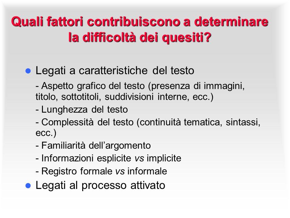 Quali fattori contribuiscono a determinare la difficoltà dei quesiti? Legati a caratteristiche del testo - Aspetto grafico del testo (presenza di imma