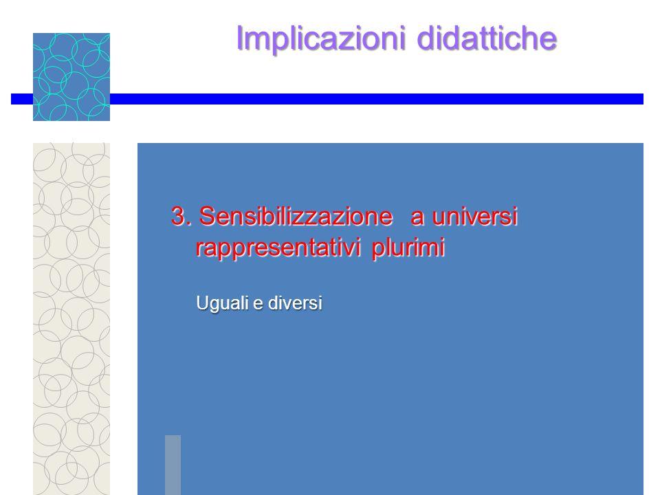 Implicazioni didattiche 3.Sensibilizzazione a universi rappresentativi plurimi 3.