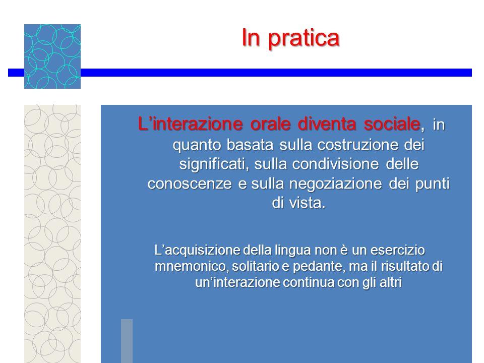 In pratica Linterazione orale diventa sociale, in quanto basata sulla costruzione dei significati, sulla condivisione delle conoscenze e sulla negoziazione dei punti di vista.