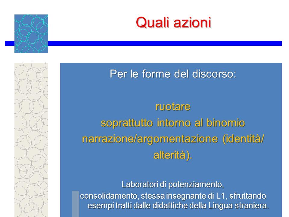 Quali azioni Per le forme del discorso: ruotare soprattutto intorno al binomio narrazione/argomentazione (identità/ alterità).