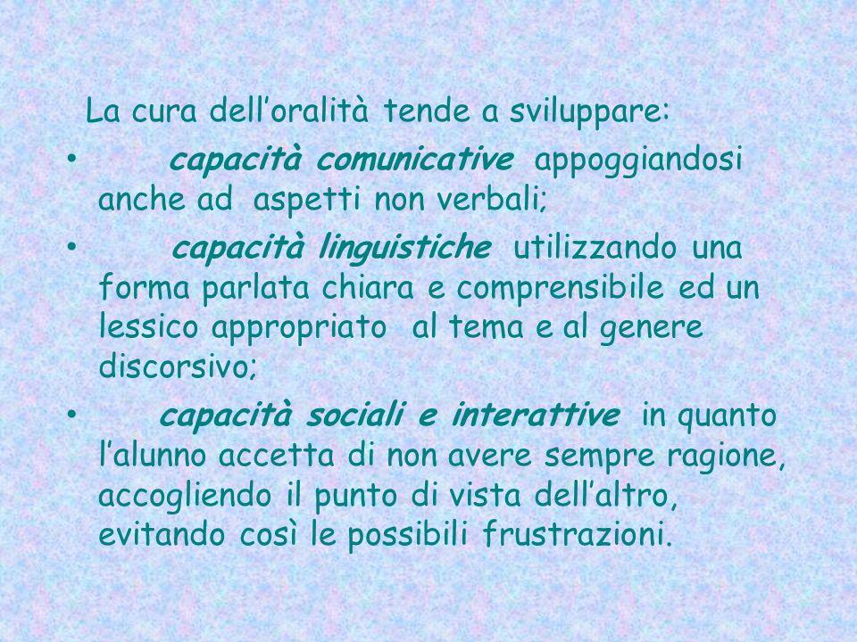La cura delloralità tende a sviluppare: capacità comunicative appoggiandosi anche ad aspetti non verbali; capacità linguistiche utilizzando una forma