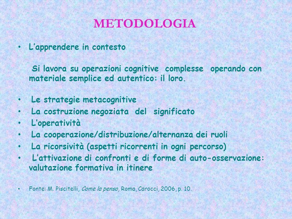 METODOLOGIA Lapprendere in contesto Si lavora su operazioni cognitive complesse operando con materiale semplice ed autentico: il loro. Le strategie me
