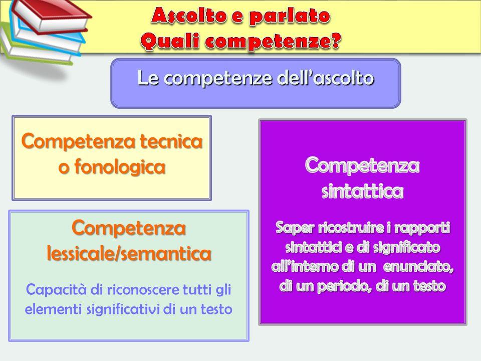 Competenza lessicale/semantica Capacità di riconoscere tutti gli elementi significativi di un testo Le competenze dellascolto Competenza tecnica o fon