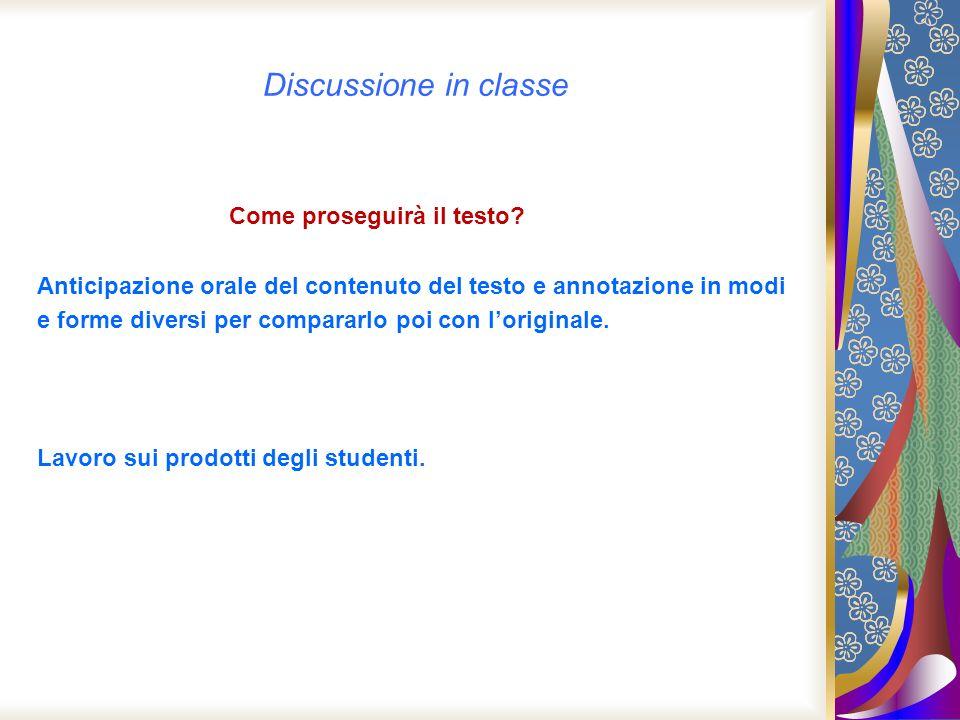 Discussione in classe Come proseguirà il testo? Anticipazione orale del contenuto del testo e annotazione in modi e forme diversi per compararlo poi c