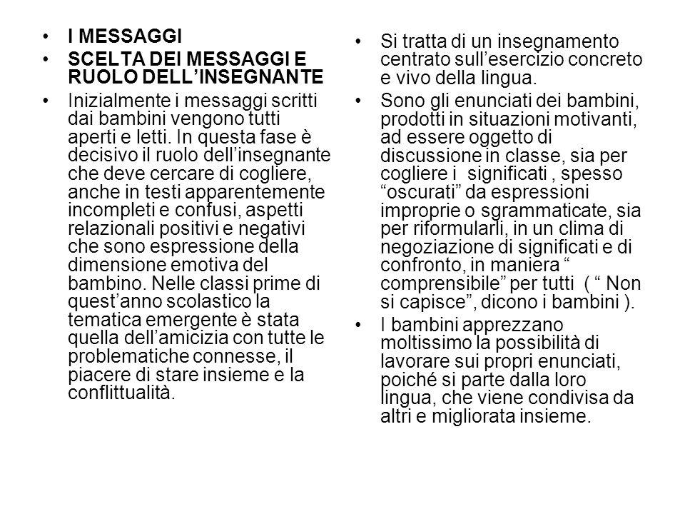 I MESSAGGI SCELTA DEI MESSAGGI E RUOLO DELLINSEGNANTE Inizialmente i messaggi scritti dai bambini vengono tutti aperti e letti.