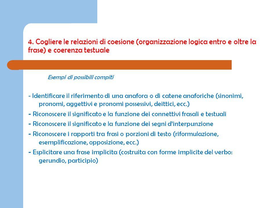 4. Cogliere le relazioni di coesione (organizzazione logica entro e oltre la frase) e coerenza testuale Esempi di possibili compiti - Identificare il