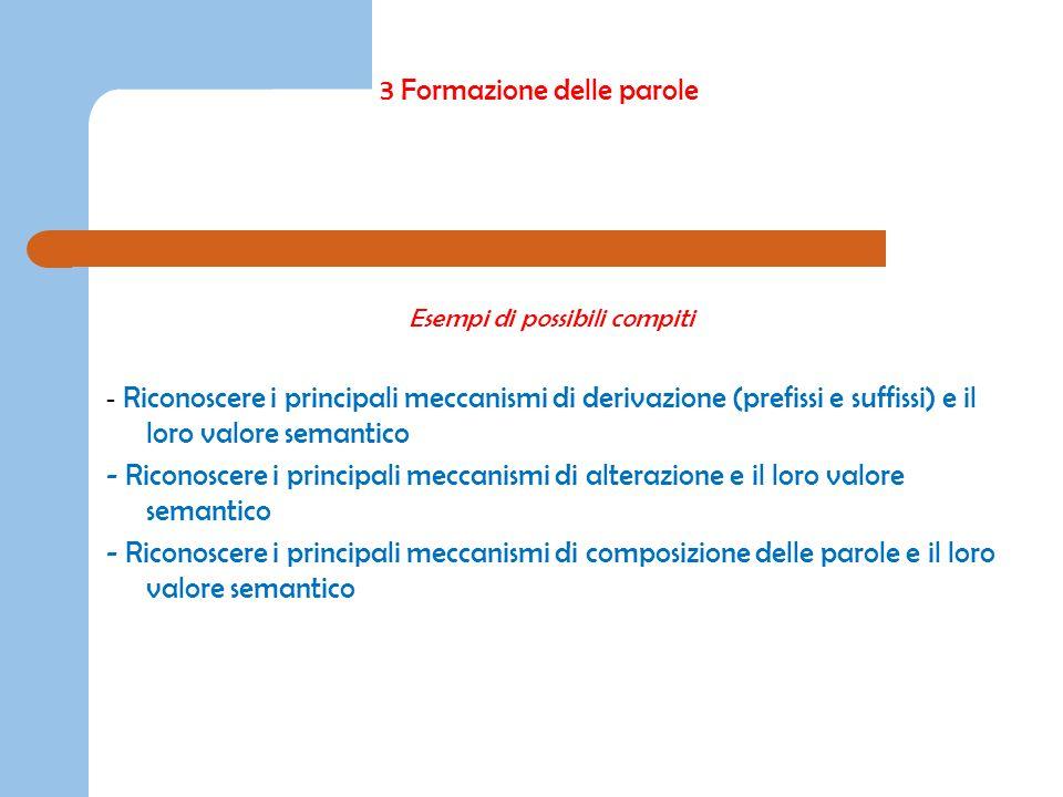 3 Formazione delle parole Esempi di possibili compiti - Riconoscere i principali meccanismi di derivazione (prefissi e suffissi) e il loro valore sema