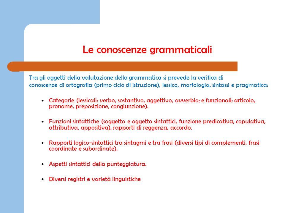 Tra gli oggetti della valutazione della grammatica si prevede la verifica di conoscenze di ortografia (primo ciclo di istruzione), lessico, morfologia