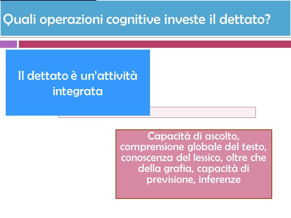 Quali operazioni cognitive investe il dettato? Capacità di ascolto, comprensione globale del testo, conoscenza del lessico, oltre che della grafia, ca