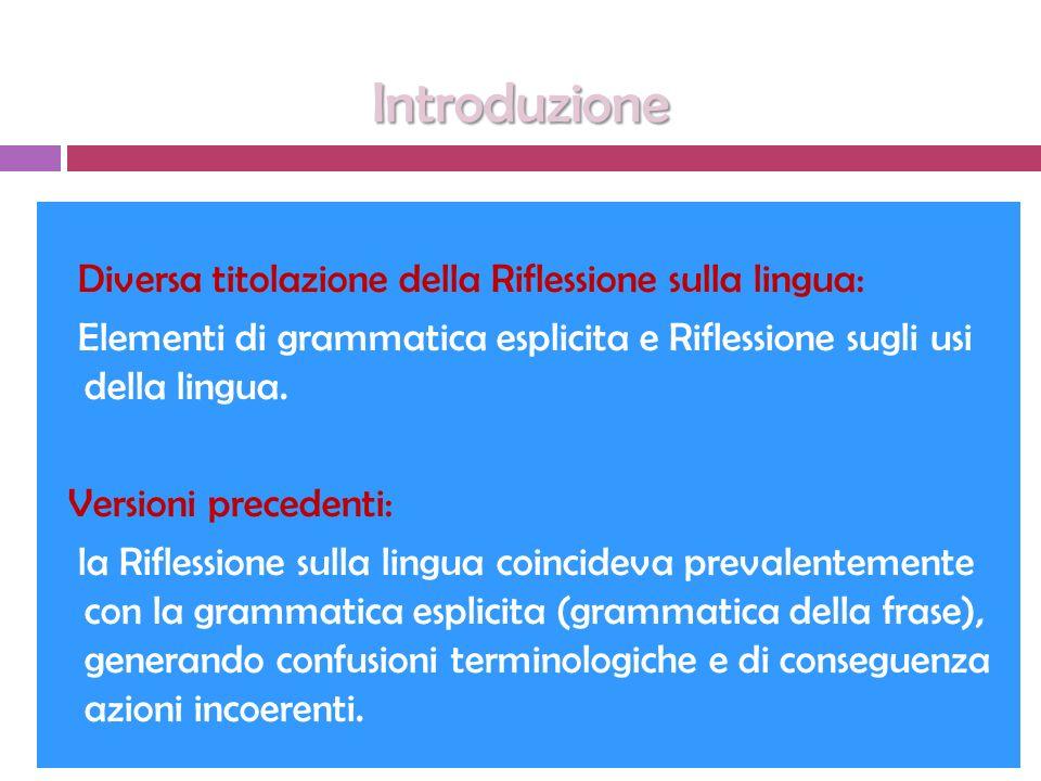 Introduzione Diversa titolazione della Riflessione sulla lingua: Elementi di grammatica esplicita e Riflessione sugli usi della lingua. Versioni prece