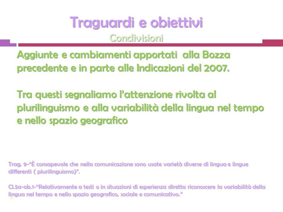 Aggiunte e cambiamenti apportati alla Bozza precedente e in parte alle Indicazioni del 2007.