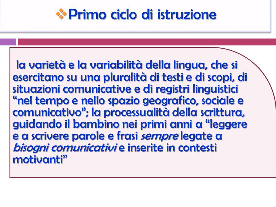 Primo ciclo di istruzione Primo ciclo di istruzione la varietà e la variabilità della lingua, che si esercitano su una pluralità di testi e di scopi,