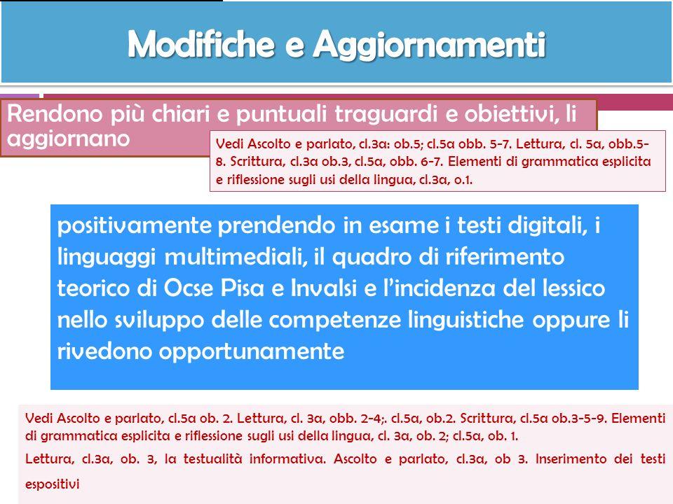 Rendono più chiari e puntuali traguardi e obiettivi, li aggiornano Vedi Ascolto e parlato, cl.3a: ob.5; cl.5a obb. 5-7. Lettura, cl. 5a, obb.5- 8. Scr