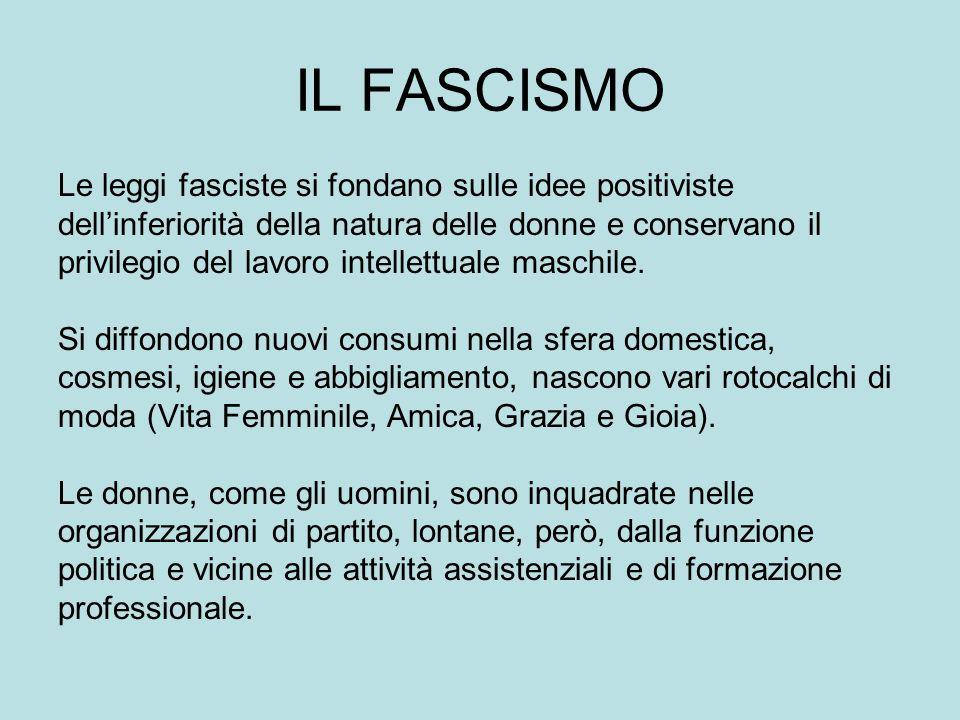 IL FASCISMO Le leggi fasciste si fondano sulle idee positiviste dellinferiorità della natura delle donne e conservano il privilegio del lavoro intellettuale maschile.