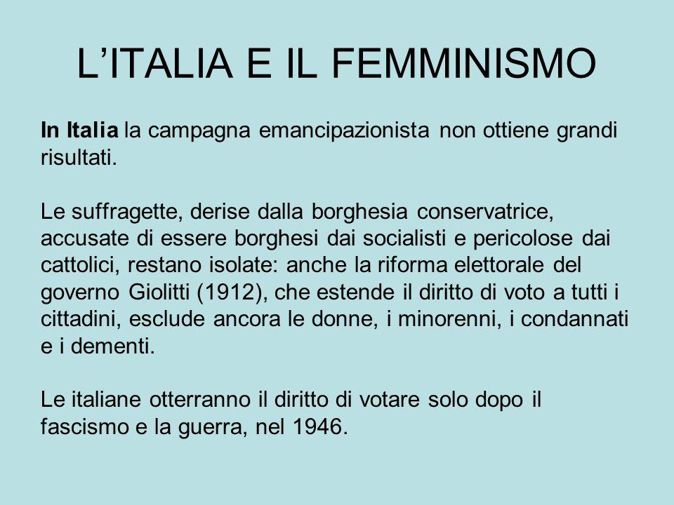 LITALIA E IL FEMMINISMO In Italia la campagna emancipazionista non ottiene grandi risultati.