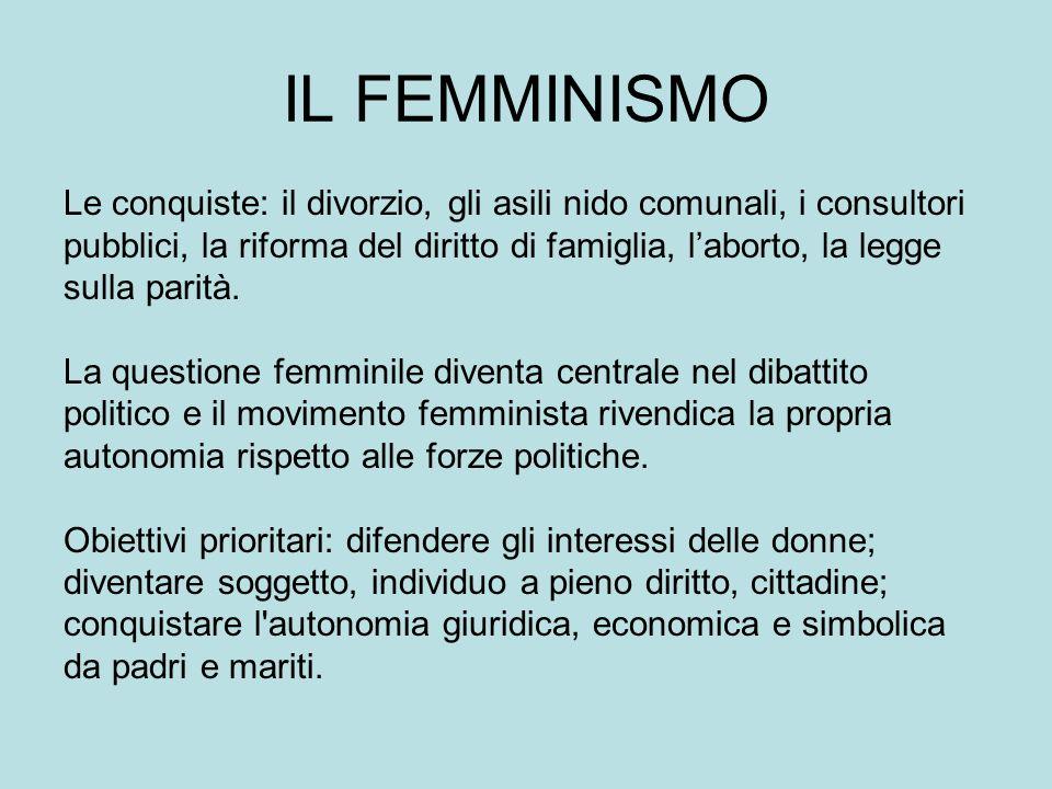 IL FEMMINISMO Le conquiste: il divorzio, gli asili nido comunali, i consultori pubblici, la riforma del diritto di famiglia, laborto, la legge sulla parità.