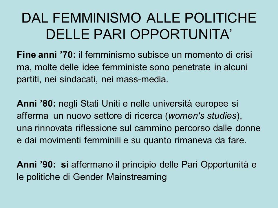 DAL FEMMINISMO ALLE POLITICHE DELLE PARI OPPORTUNITA Fine anni 70: il femminismo subisce un momento di crisi ma, molte delle idee femministe sono penetrate in alcuni partiti, nei sindacati, nei mass-media.