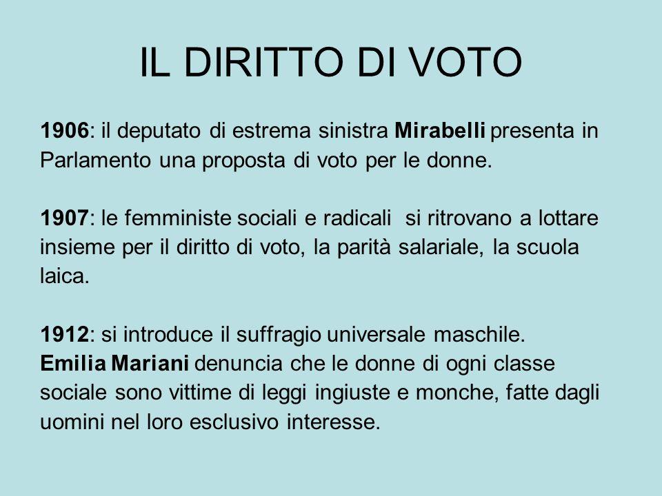 IL DIRITTO DI VOTO 1906: il deputato di estrema sinistra Mirabelli presenta in Parlamento una proposta di voto per le donne.