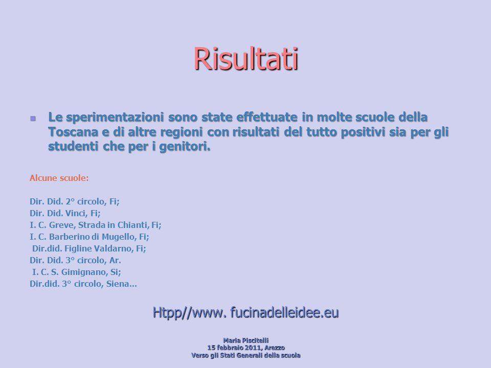 Risultati Le sperimentazioni sono state effettuate in molte scuole della Toscana e di altre regioni con risultati del tutto positivi sia per gli stude