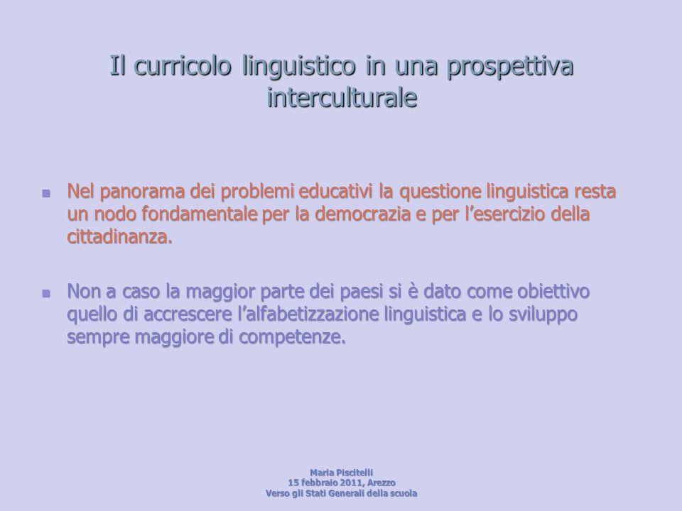 Il curricolo linguistico in una prospettiva interculturale Nel panorama dei problemi educativi la questione linguistica resta un nodo fondamentale per