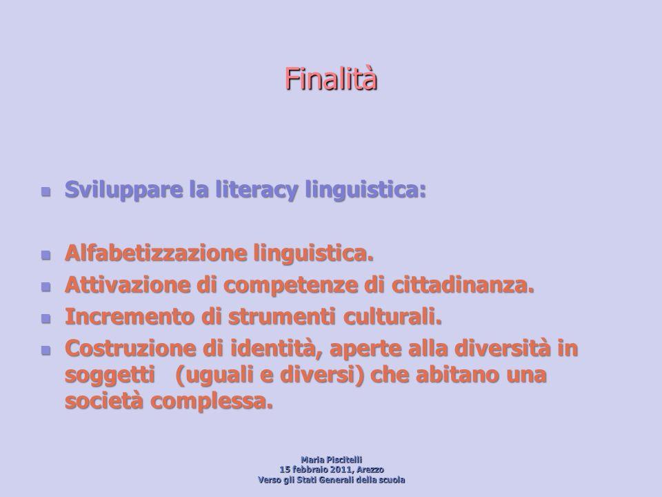 Finalità Sviluppare la literacy linguistica: Sviluppare la literacy linguistica: Alfabetizzazione linguistica. Alfabetizzazione linguistica. Attivazio