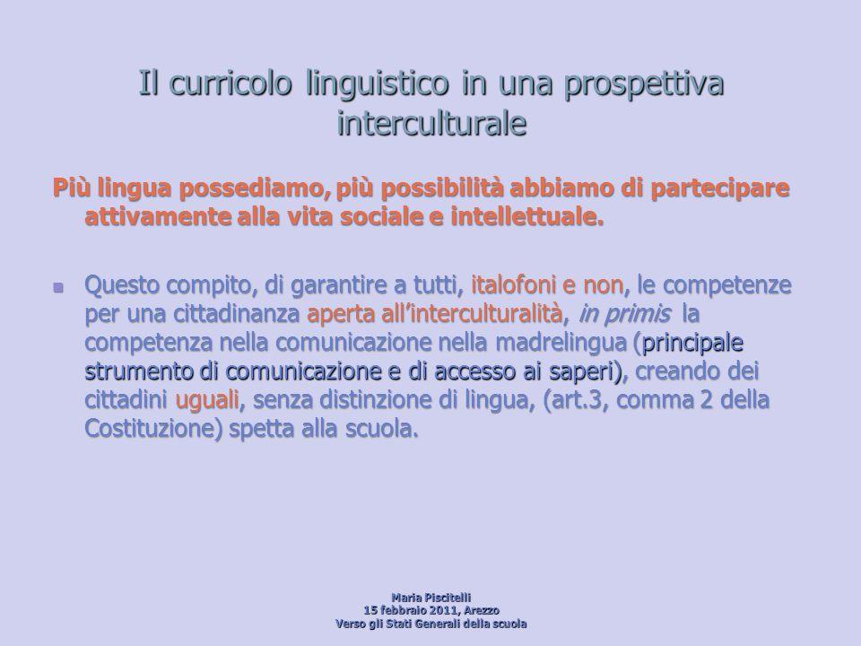 Il curricolo linguistico in una prospettiva interculturale Più lingua possediamo, più possibilità abbiamo di partecipare attivamente alla vita sociale