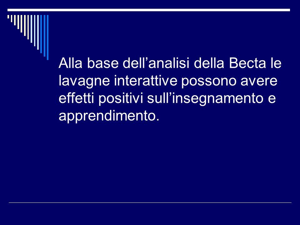 Alla base dellanalisi della Becta le lavagne interattive possono avere effetti positivi sullinsegnamento e apprendimento.